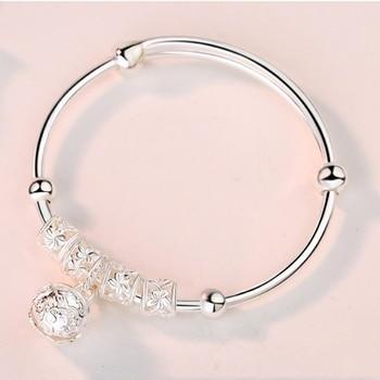 Fashion Silver 925 Sterling Silver Charm Stone Bangle Cuff Bracelet Ball Bell Pendants Women Jewelry Gift 1