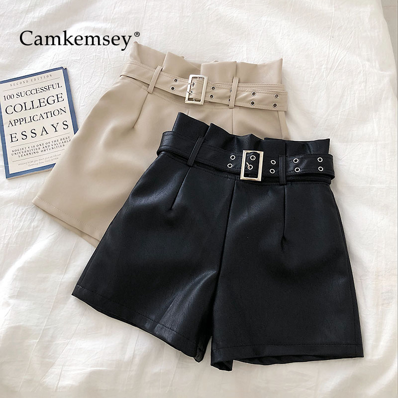 CamKemsey Autumn Casual High Waist PU Leather Shorts Women Korean Chic Solid Soft Leather Wide Leg Shorts With Sashes