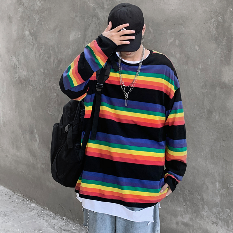 Autumn New Rainbow T Shirt Men Fashion Contrast Color Casual Long-sleeved T-shirt Men Streetwear Wild Loose Hip Hop Tshirt Man