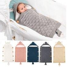 Nouveau-né poussette sac de couchage bébé enveloppe tricoté Swaddle chancelière enfant en bas âge enfant sommeil sac lapin infantile tricot sommeil lit sacs