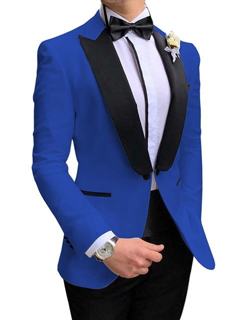 2020 New Arrival 2 Piece Royal Blue Men Suits Prom Tuxedos Groom Blazer Slim Fit Dinner Party Suits For Wedding Blazer+Pants+Bow