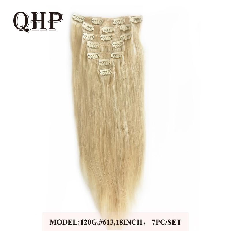 70g 100g 120g Clip en extensiones de cabello humano brasileño Remy pelo lacio #1 # 1B #4 #8 #613 #27 12 pulgadas-24 pulgadas 7 unid/set de cabeza completa
