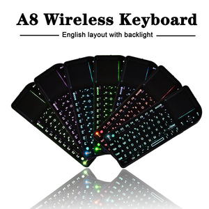 Image 3 - A8 Russian Spanish English Air Fly Mouse White Color Backlit Mini Wireless Keyboard Handheld Touchpad For Projector TV PC