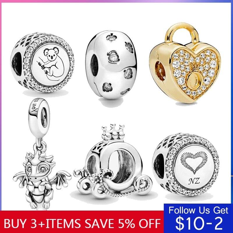 Hot Sale 100% Real Sterling Silver 8 Style Crown Dragon Koala Beads Fit Original Bracelet DIY Jewelry Making Dropshipping