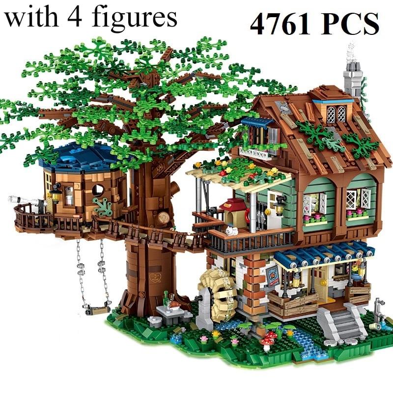 4761 floresta pçs árvore casa modelo blocos de construção com figuras diy montagem pequena partícula tijolos brinquedos para cri