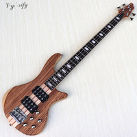 hickory wood top 4 string performance active bass guitar neck through solid okoume wood back and side electric bass guitar