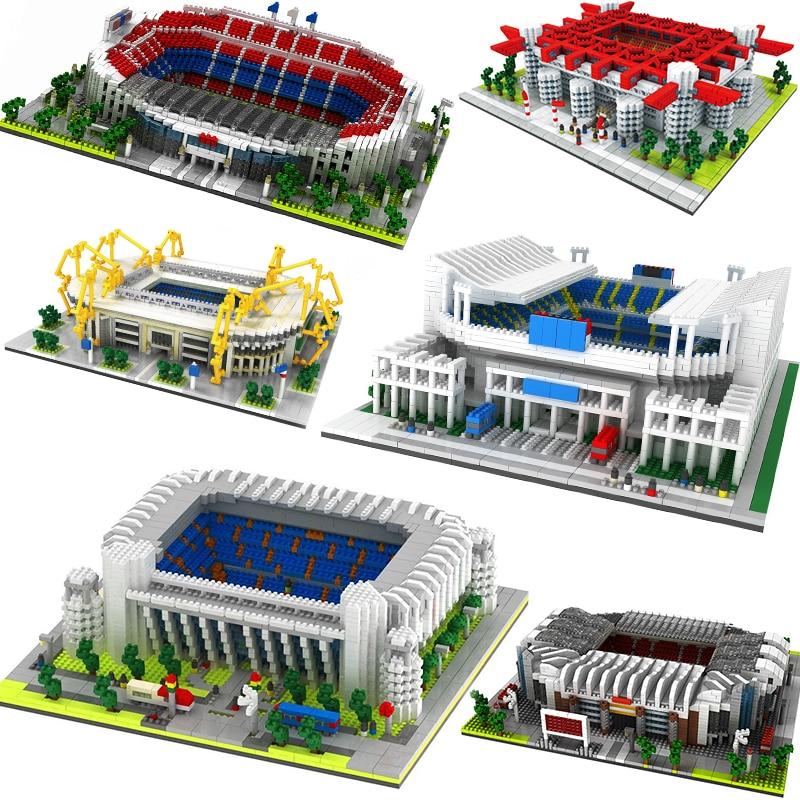 Большой футбольный стадион поле тренажерный зал модель строительные блоки наборы архитектура Испания Англия футбольный клуб гимназия
