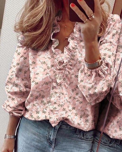 Фото женская блузка с оборками топы буквенным принтом ананаса v образный цена