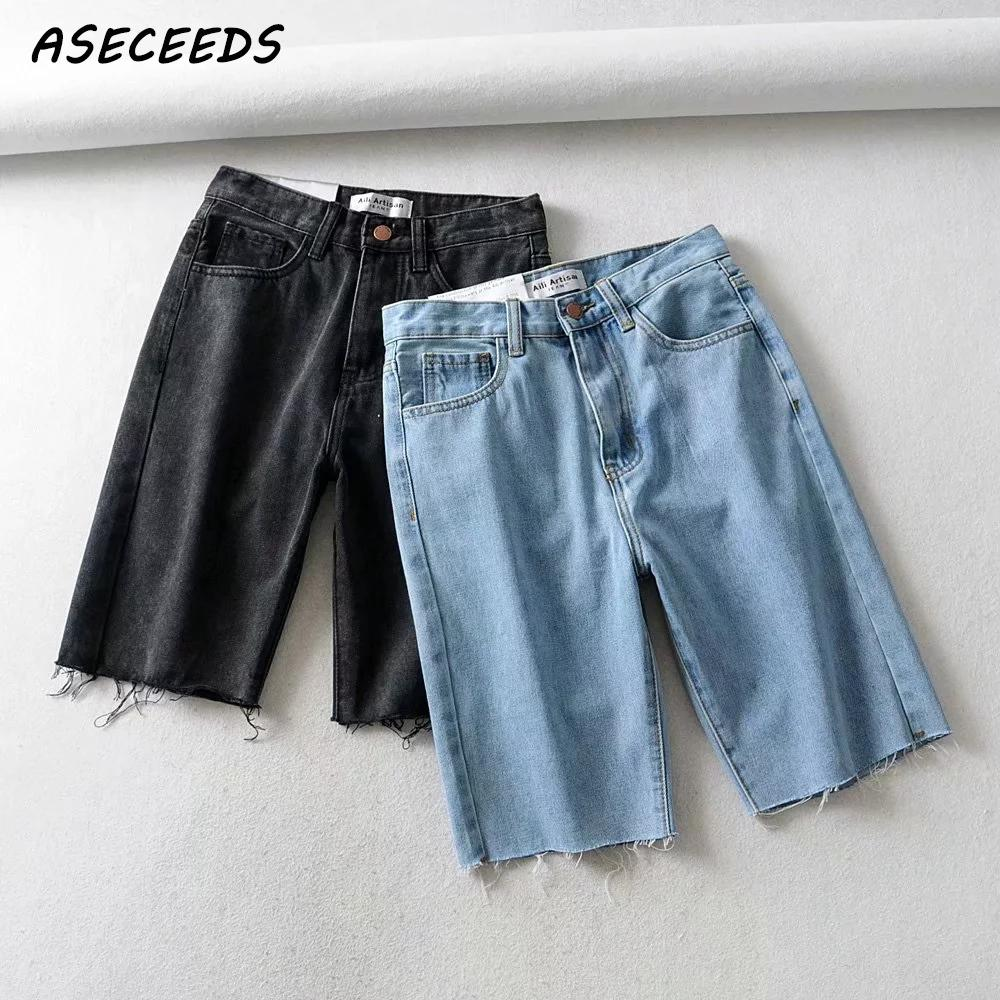 2019 Vintage Black Short Jeans Women Summer Casual High Waist Shorts Sexy White Denim Shorts Punk Rave Streetwear Korean Clothes