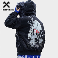 11 BYBB'S DARK Winter Thick Fashion Black Bomber Jackets Men Casual Streetwear Cotton Padded Baseball Overcoat Urban Outwear