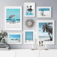 Cuadro sobre lienzo para pared, carteles nórdicos e impresiones de imágenes de pared para decoración para sala de estar, árbol de coco, playa azul, Bali, Maldivas