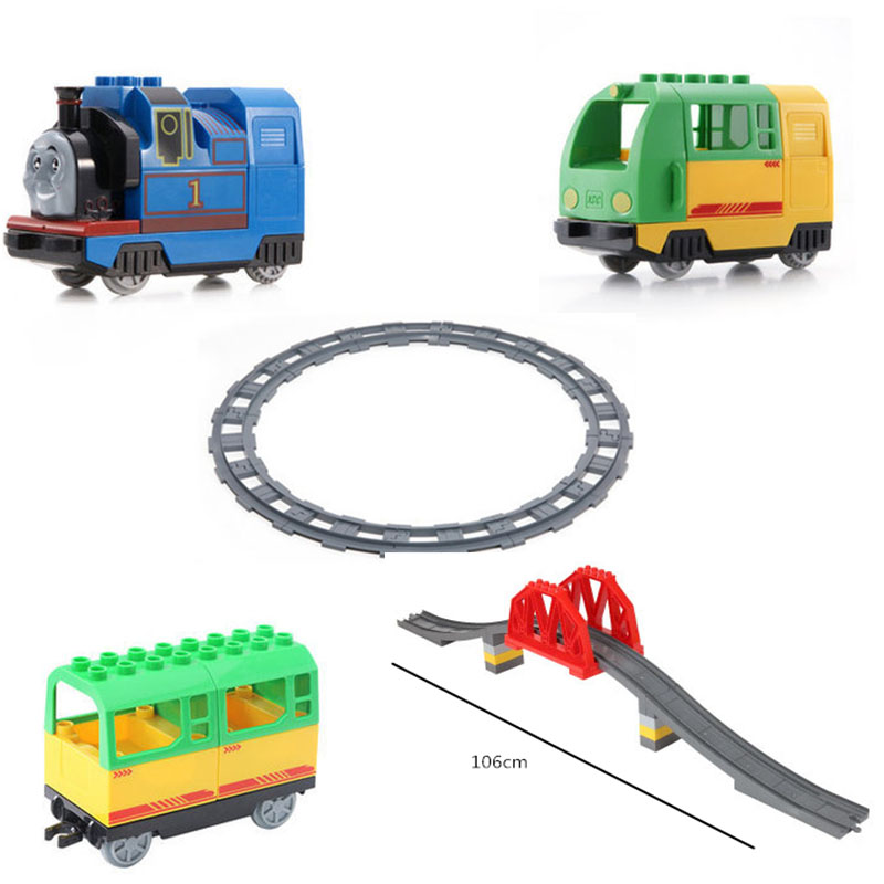 Big Size Diy Train Building Blocks Railway Track Accessory Viaduct Bridge Parts Kids Duploed Toys Bricks