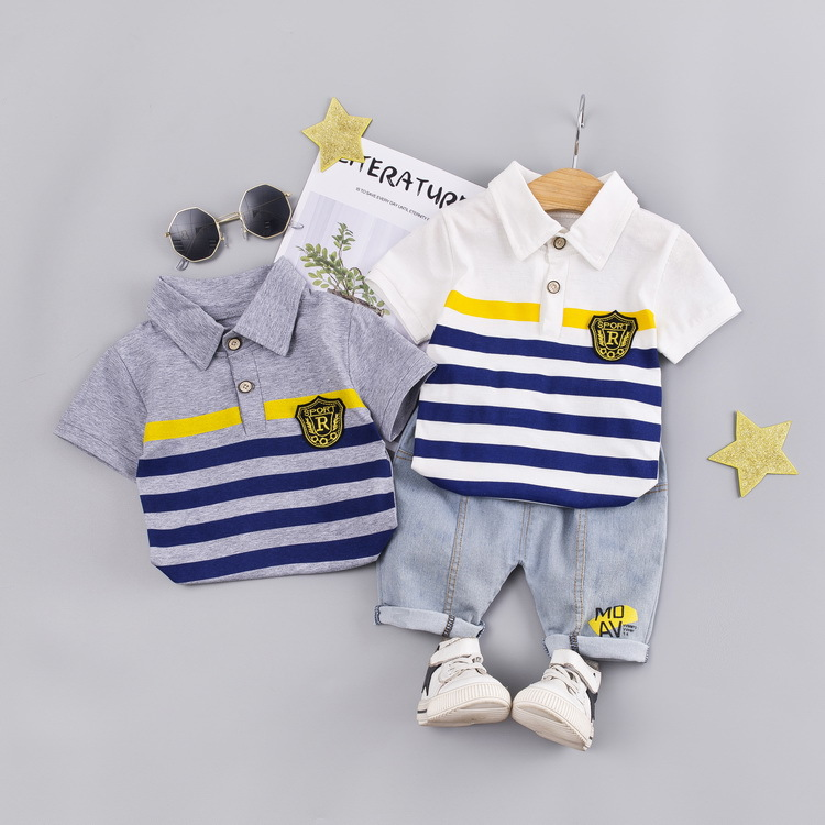 Fashionable New Baby Boy Clothes Summer Lapel Short Sleeve Shorts Suit Striped Letter Printed Cotton Casual Baby Two-piece Suit
