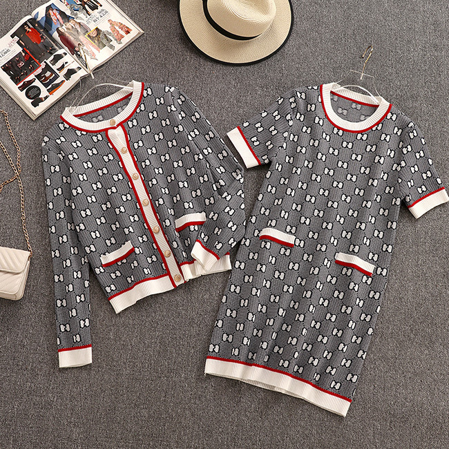 2019 Autumn New Women's Set Small Fragrance Style Fashion Knit Cardigan Medium Long Section Dress Two-piece Female Free Shipping