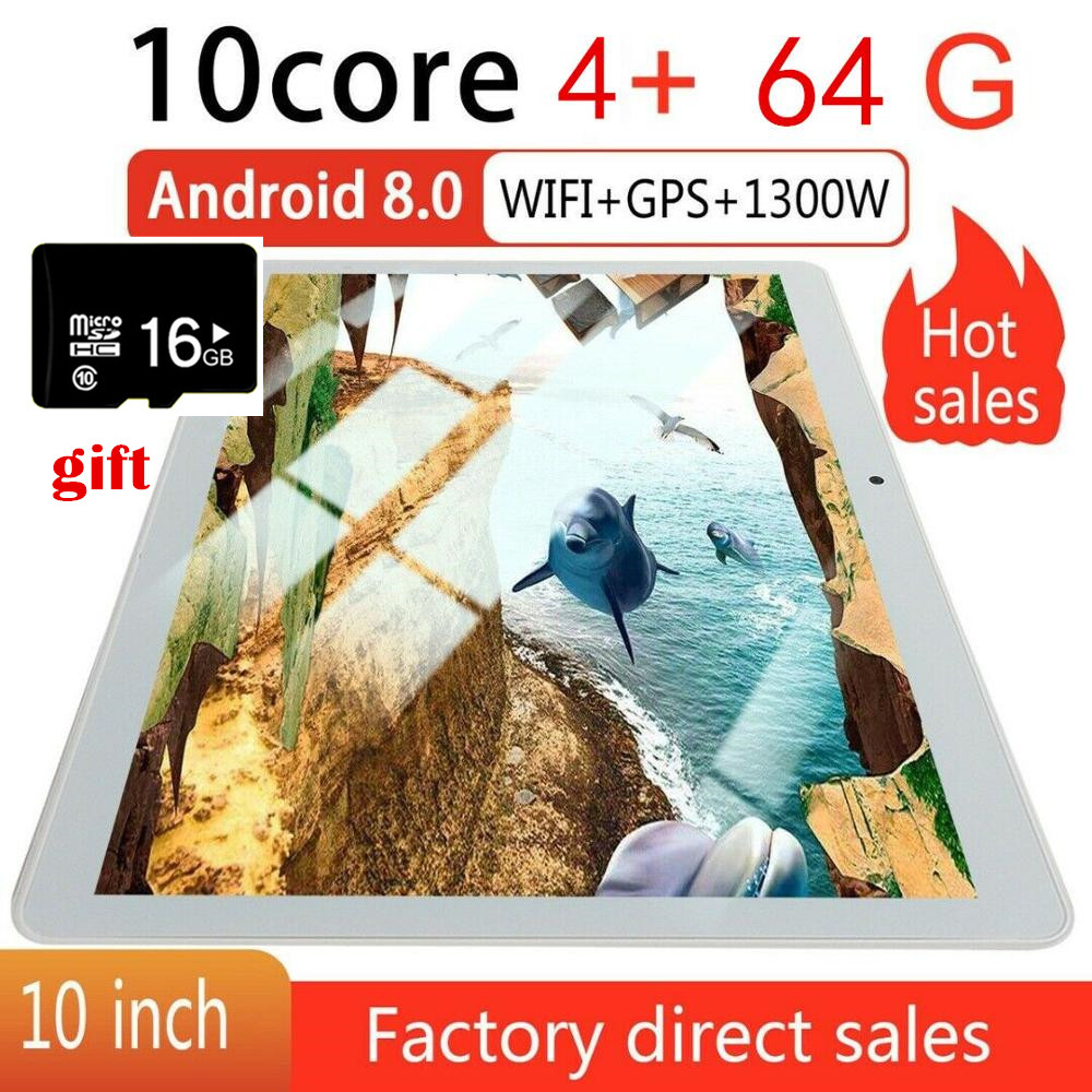 """10"""" Inch Tablet PC 4+64GB Android 8.0 Dual SIM Dual Camera GPS Wi-Fi Phablet New Android Tablet Pad From Factory"""