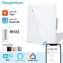 Wifi interruptor inte Wall Touch Switch EU Smart Light Switch 1 2 3 4 Gang 2/3 Way 220V Tuya Smart Home Support Alexa Google