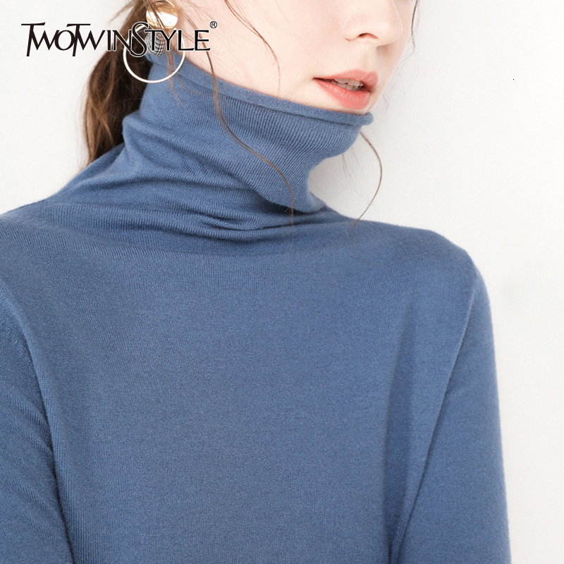TWOTWINSTYLE Korean Casual Sweater Female Turtleneck Long Sleeve Solid Knitted Sweaters For Women 2019 Autumn Fashion Clothing