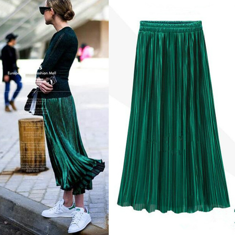PEONFLY Spring Summer Pleated Skirt Womens Vintage High Waist Skirt Solid Long Skirts New Fashion Casual Metallic Skirt Female