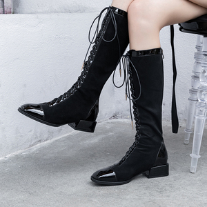Botas quentes de couro genuíno mulheres cruz amarrado joelho botas altas inverno mais novo sexy botas longas noite clube sapatos mulher