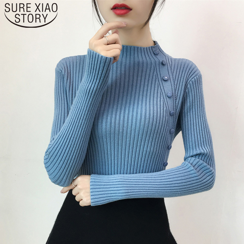 2019 New Autumn Winter Pullover Button Half-high Collar Sweaters Women Turtleneck Cashmere Solid Clothes Women Fashion 6576 50