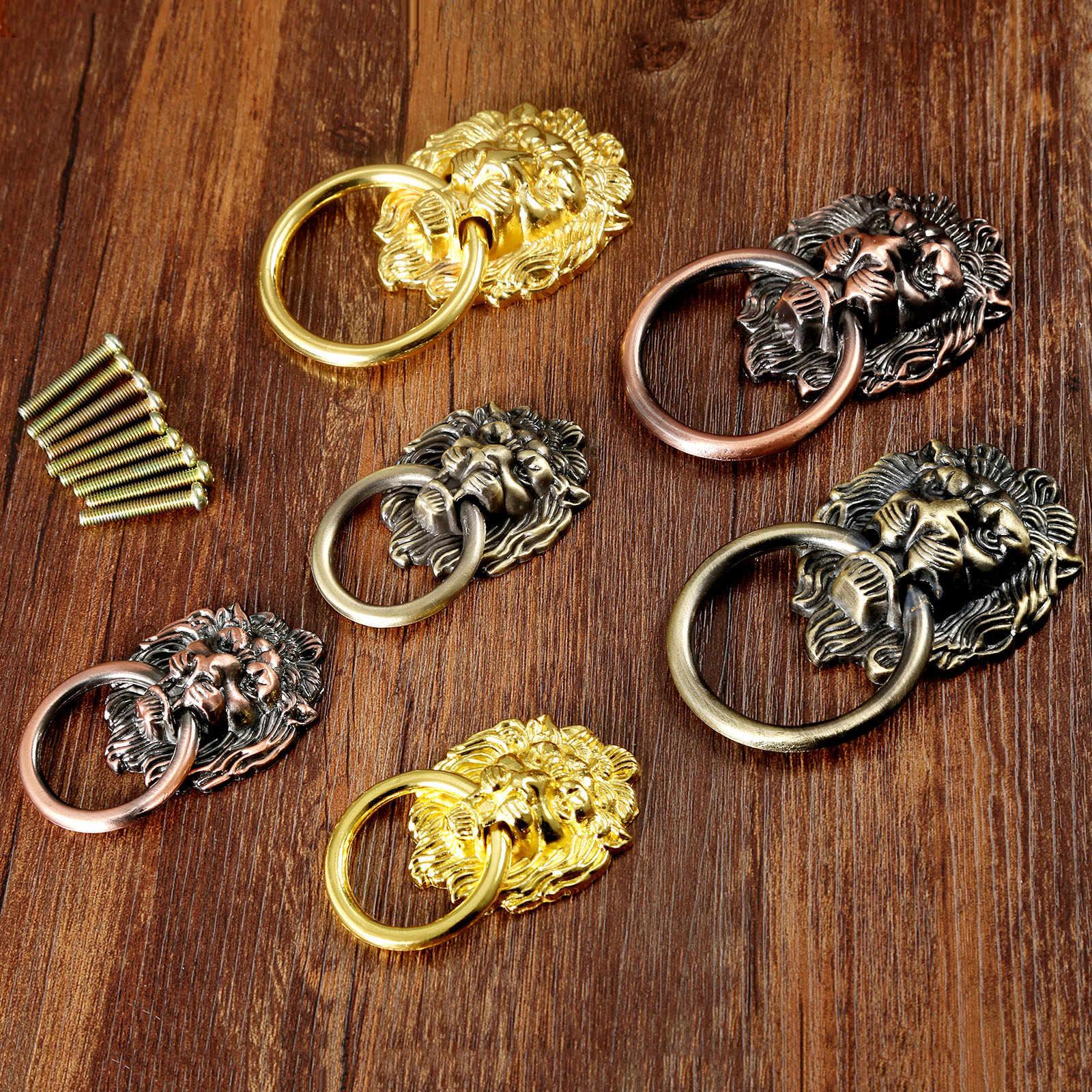 האריה ראש knob עתיק ידית Vintage מגירת ארון ארון דלת למשוך טבעת ידיות ברונזה פליז זהב 67mm 90mm ריהוט חומרה