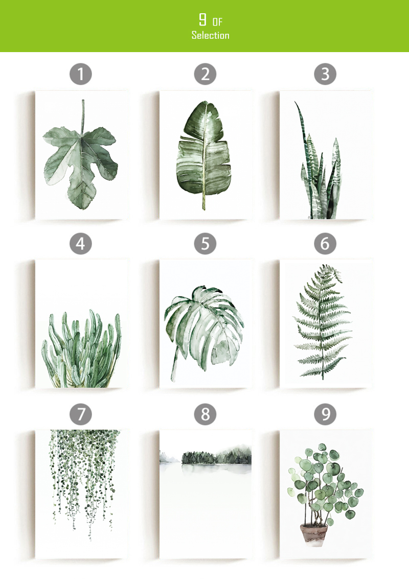 H568401627d2449688488e72a601e6800k ART ZONE Tropical Plant Leaves Canvas Art Print Poster Nordic Green Plant Wall Pictures Kids Room Large Painting No Frame