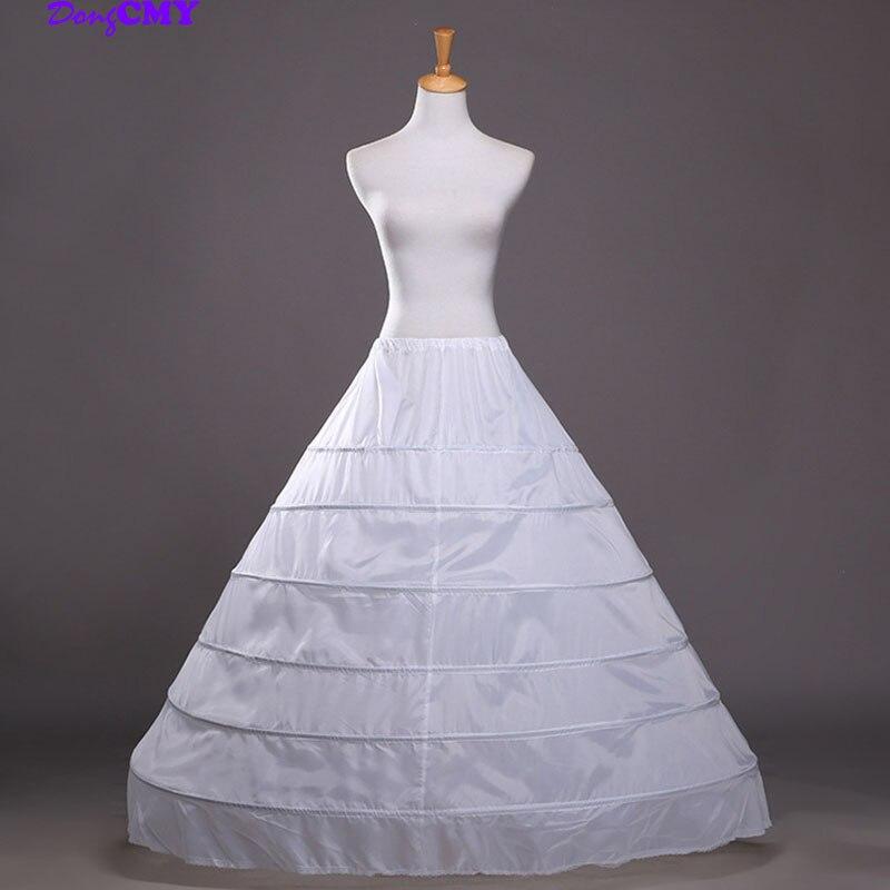 DongCMY Cheap Long 6 Hoops Petticoat Underskirt For Ball Gown Skirt Mariage Underwear Crinoline Wedding Accessories