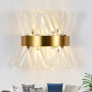 Image 2 - Crystal wall light fixture bedroom beside gold wall lamps AC 90 260V bathroom led wall sconce