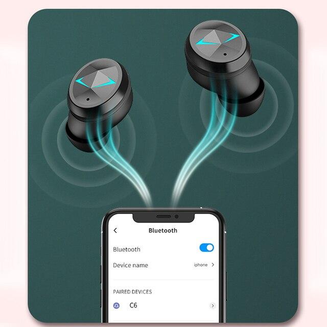 Tws bluetooth 5.0 fones de ouvido com microfone display led sem fio bluetooth fones à prova dwaterproof água cancelamento ruído fone 4