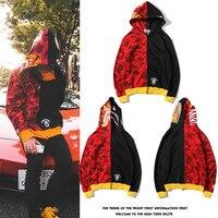 2018 New Casual Japanese Trend Tiger Shark Dress Red Camo Hat Spliced Zip Cardigan Hoodie Kanye West Streetwear