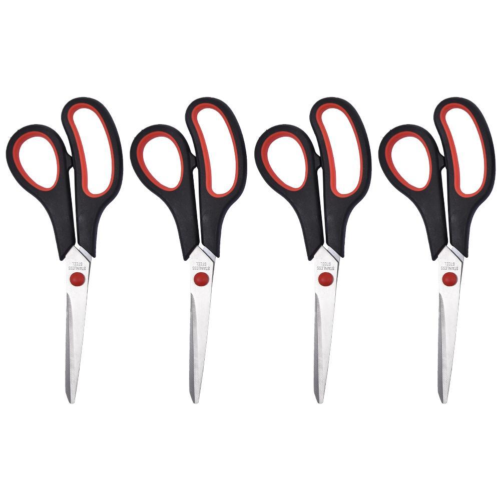 Premium Scissors 8 Inch Soft Comfort Grip Handles Sharp Titanium Blades, Multipurpose Home Office Scissors 4-Pack