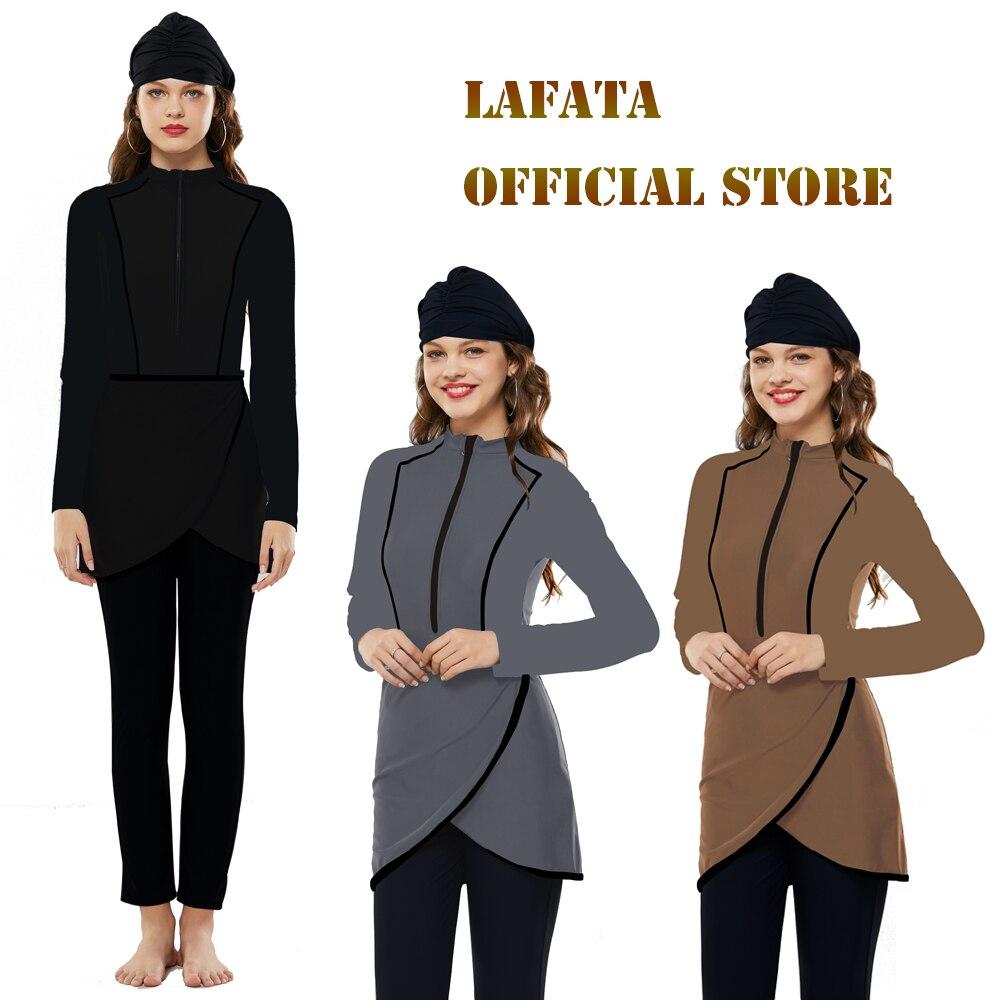 2020 LaFata New Design Color Muslim Swimwear Islamic Modest Swimming Suit Burkini Women Swimsuit With Hijab