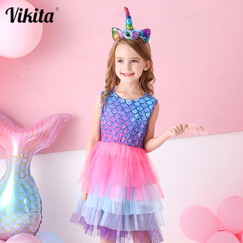 VIKITA Girls Summer Tutu Dress Kids Birthday Party Beach Dresses Toddlers Princess Vestidos Kids Mesh Tulle Licorne Dress vikita girls unicorn dress princess tutu dress for girls children birthday party licorne vestidos kids autumn winter dresses