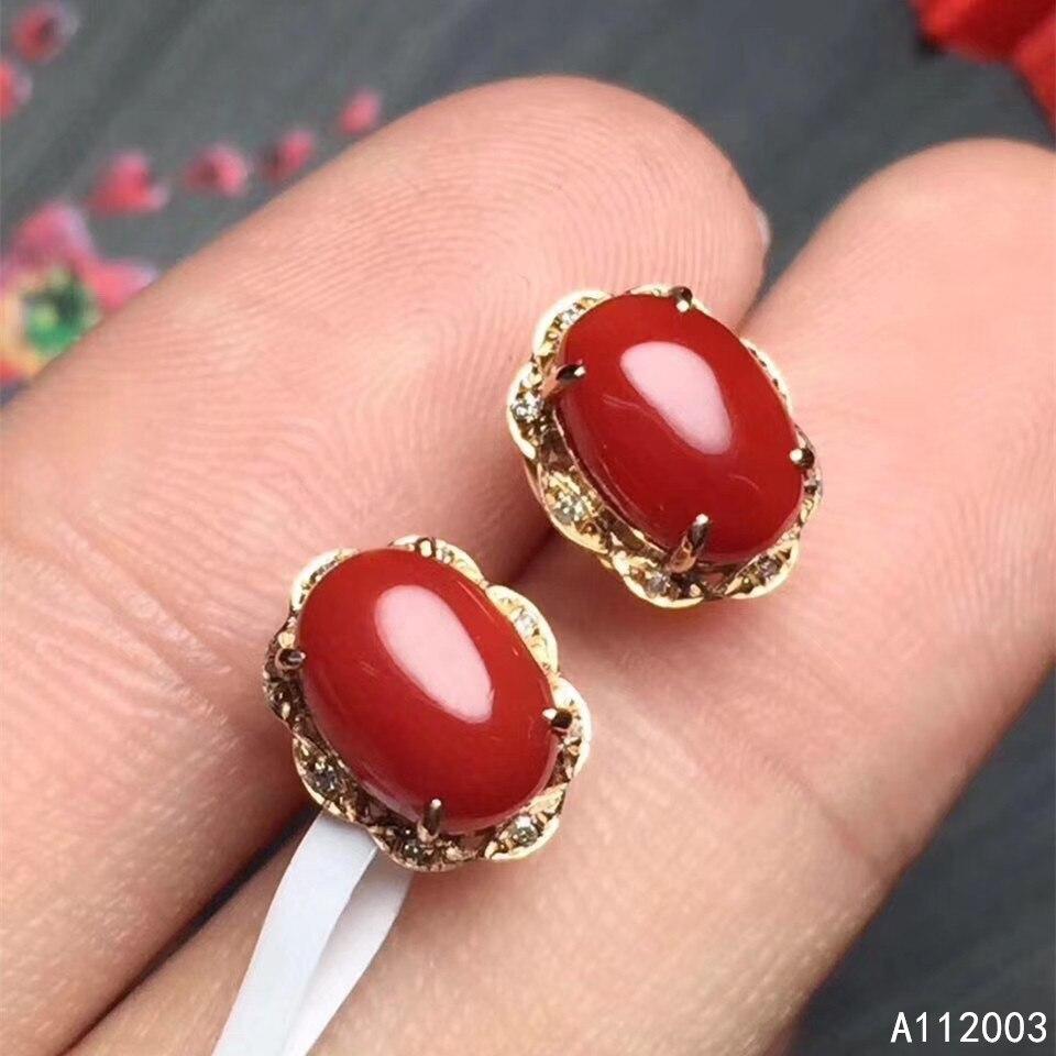 KJJEAXCMY bijoux fins 925 argent sterling incrusté naturel rouge corail femelle boucles d'oreilles clous d'oreille mode soutien détection
