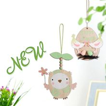 Wood DIY Chick Pendant Rabbit Carrot Owl Hanging Ornament Creative Easter Decor