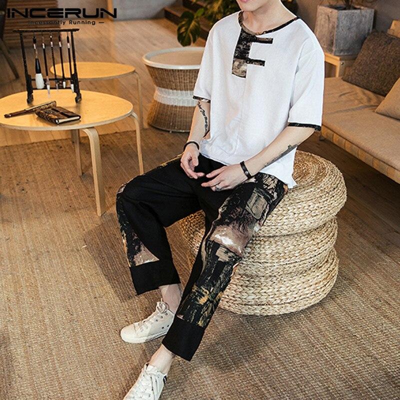 INCERUN Chinese Style Printed Men Sets Streetwear Short Sleeve Casual Shirt Elastic Waist Pockets Pants Vintage Loose Men Sets