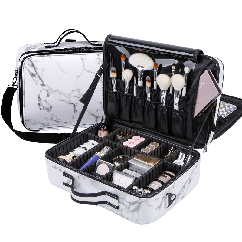 New PU Leather Marble Pattern Makeup bag Large Capacity Professional Travel Tattoo Storage Cosmetic Case