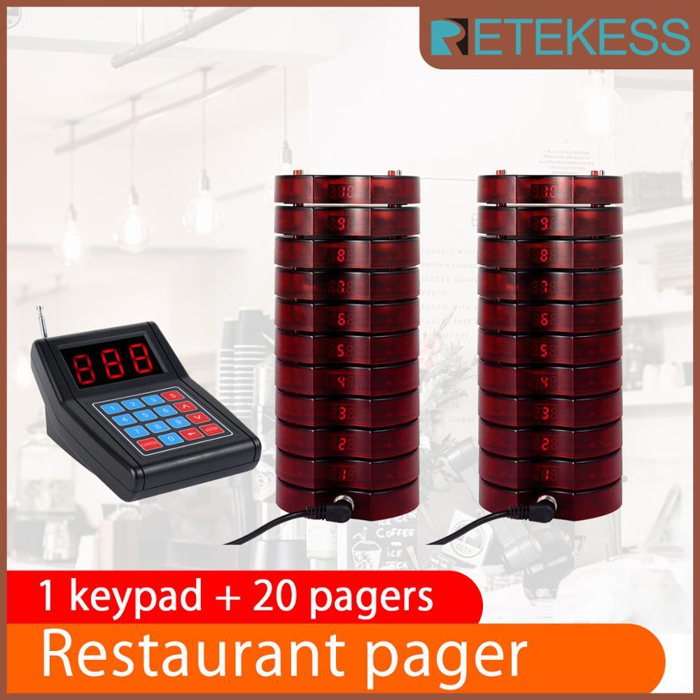 RETEKESS 레스토랑 호출기 부저 퀴즈 호출 시스템 호출기 999 채널 무선 호출 호출 대기열 시스템 식당 장비