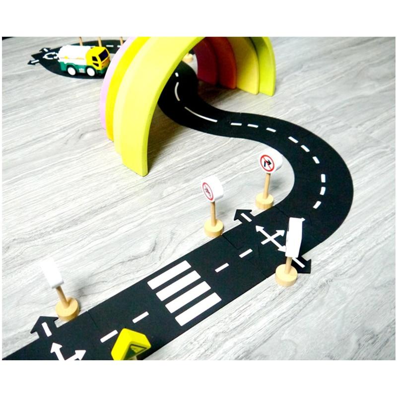 Автомобильный игровой коврик «сделай сам», пазлы из ПВХ, гибкая городская дорога, гоночный автомобиль, трек, игрушка, детский игровой коврик...