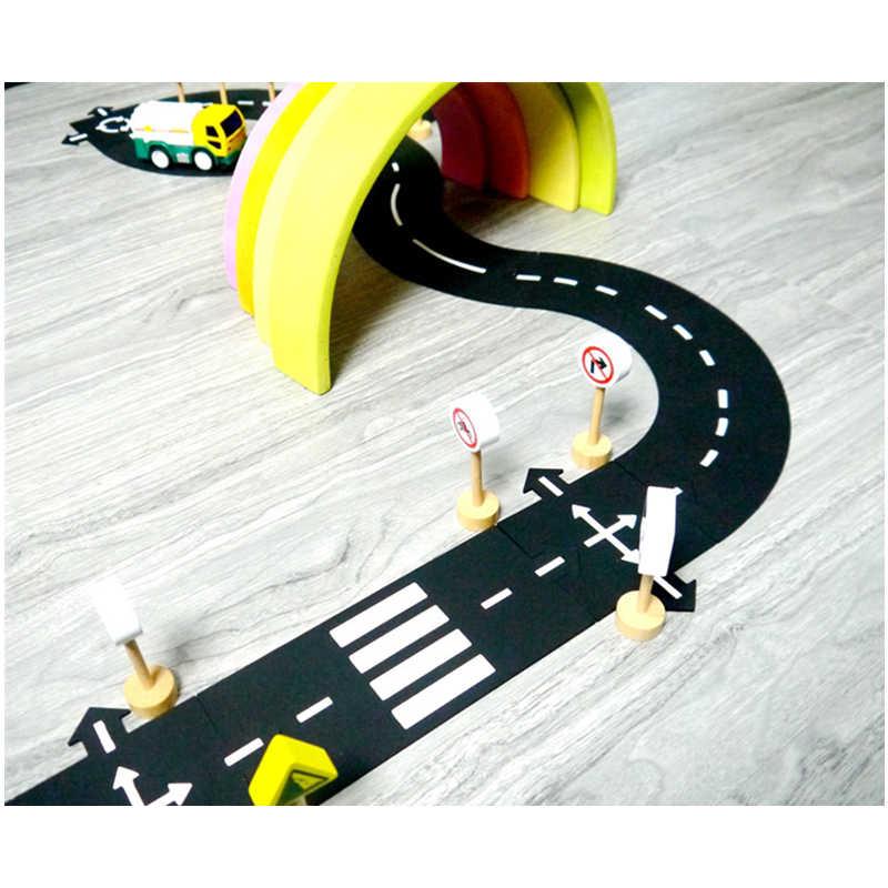 DIY araba oyun matı yol PVC bulmacalar esnek şehir yol yarış arabası parça oyuncak bebek çocuk oyun halısı zemin halısı öğretici oyuncaklar çocuk