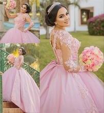 Женское бальное платье с длинным рукавом розовое винтажное кружевное
