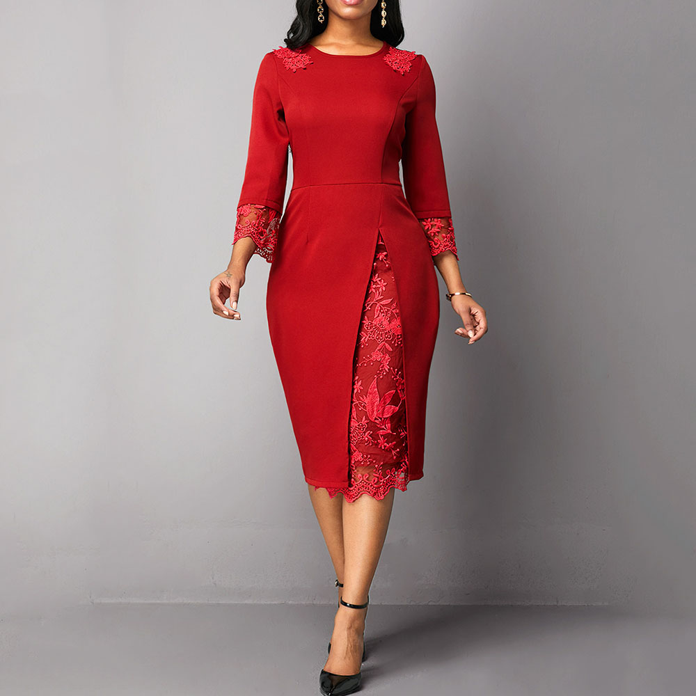 Red Plus Size Cocktail Dress Scoop Neck 3/4 Sleeves Lace Mermaid Knee Length Wedding Party Formal Night Club Cocktail Dress