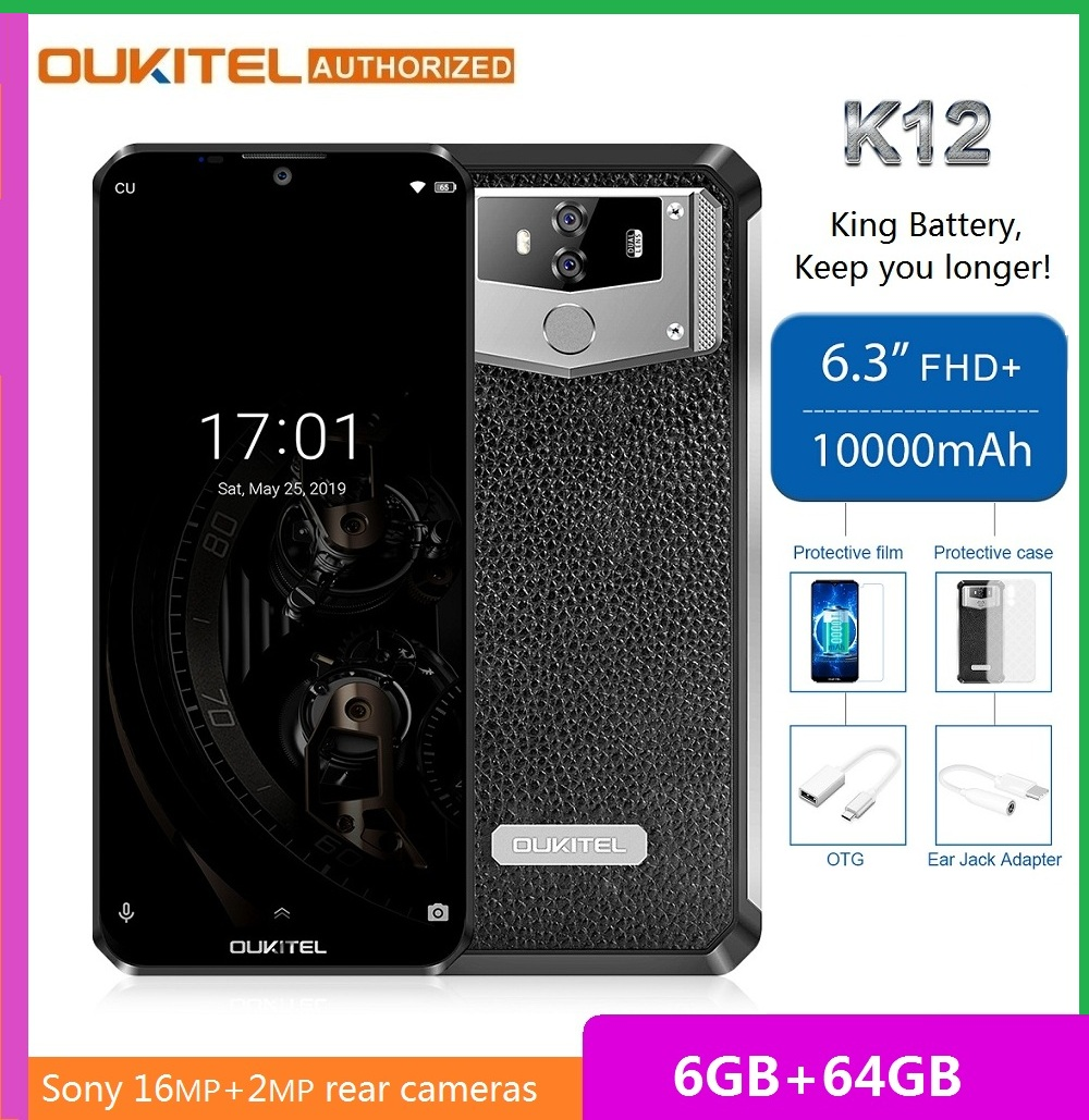 <font><b>OUKITEL</b></font> <font><b>K12</b></font> 6.3 inch 4G Smartphone MT6765 Helio P35 Octa Core 2.3GHz 6GB RAM 64GB ROM Cell Phone 10000mAh 5V/6A Quick Charge image