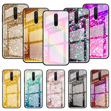 Gold Pink Glitter Print Glass Case For Xiaomi Redmi Note 9S 8T 9 8 7 8A K20 K30 Pro Zoom 6 Tempered Phone Carcasa Capas