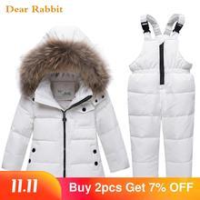 Chaqueta de fino algodón down de otoño e invierno para niños, parka de piel auténtica para niño, Mono para bebé, traje de nieve, conjunto de ropa para niña, 2020