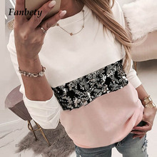 Women Diamond Splice blouse Shirts Office Lady casual o neck