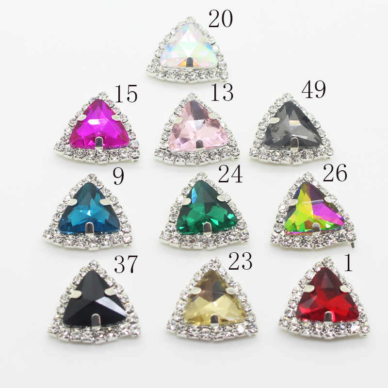 Ywxinxi Hot Sale 10 Pcs/lot 22 Mm Rhinestones Segitiga Campuran Warna Kaca Belt dan Aksesoris Ransel Perhiasan Diy Aksesoris