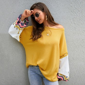 Loose Sweater Women\'s Simple Lantern Sleeve Knit Stitching Embroidery Lace Fashion Autumn Loose Round Neck Female Sweater фото