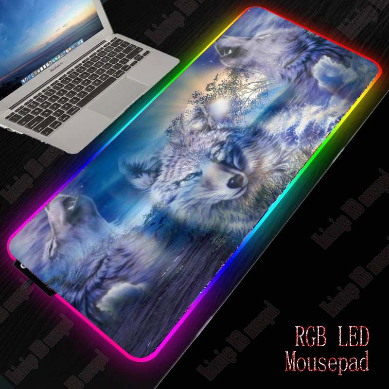 XGZ Wolf RGB Computer Mousepad LED Backlight Gaming Mouse Pad Gamer Large Animal Mause Pad USB for Keyboard Mice PC Desk Mat 1