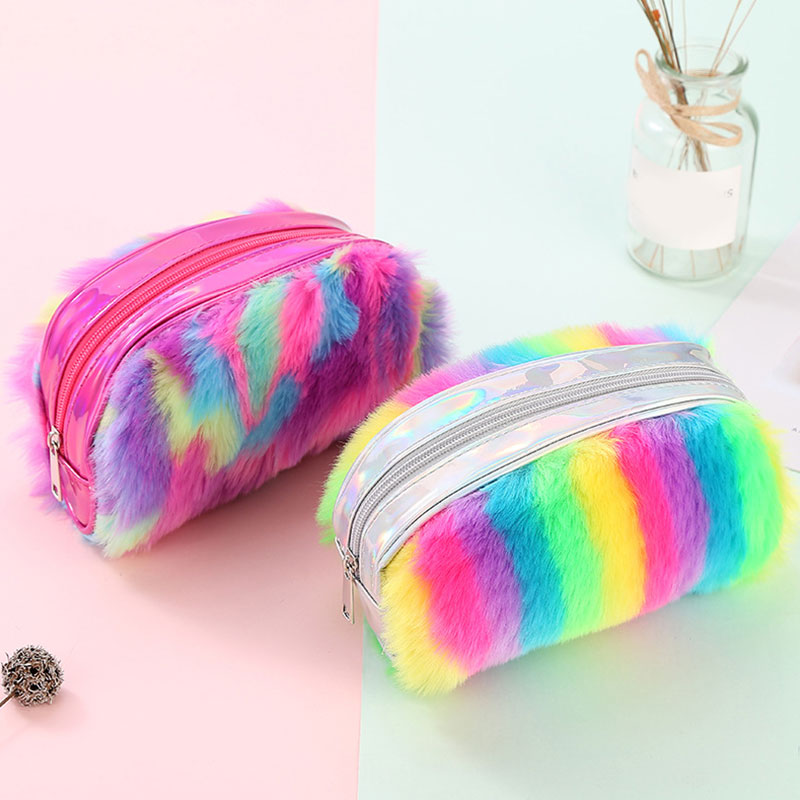2019 New Cute Plush Make Up Bag Women Travel Organizer Zipper Women Cosmetic Bag Colorful Faux Fur Beauty Case Neceser Mujer